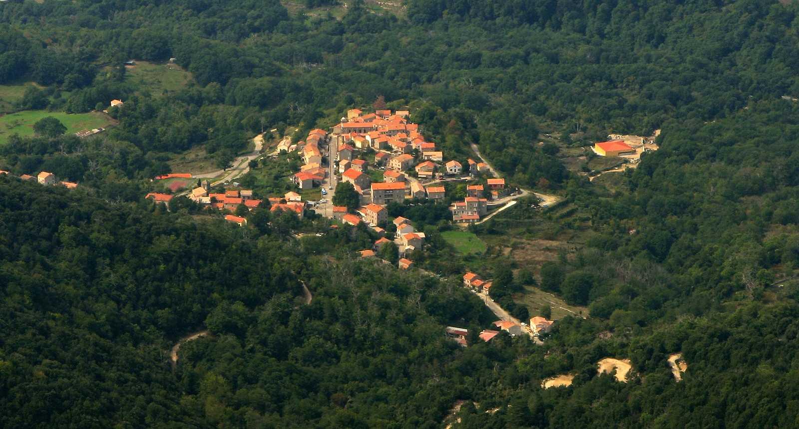 Le village de Cozzano, dans la forêt de Zicavo