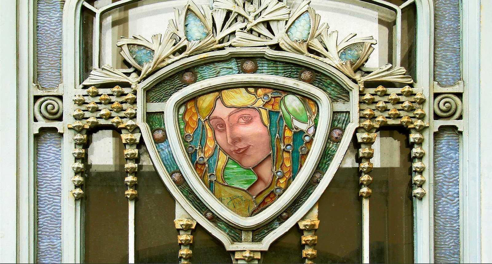 Vitrail de la porte du Musée de l'Ecole de Nancy