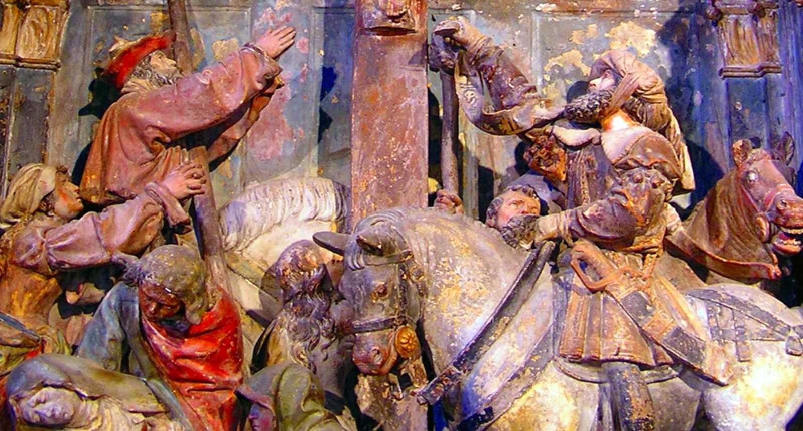 Détail du retable de l'église fortifiée d'Hattonchâtel