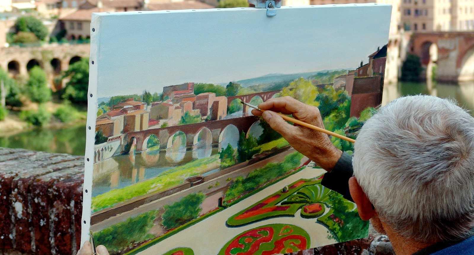 Peinture représentant les ponts d'Albi