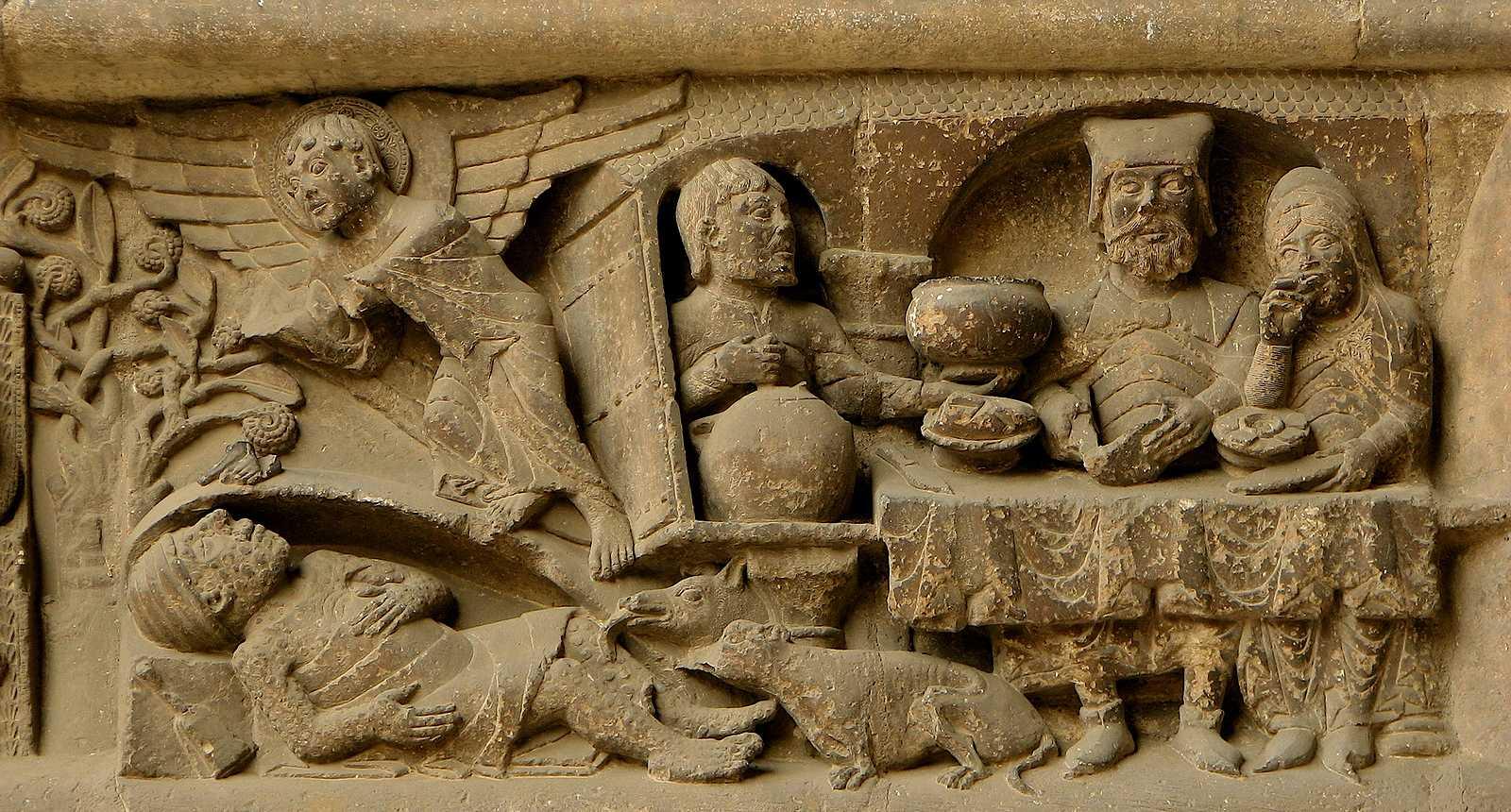 Détail sculpté de la porte sud de l'Abbaye Saint-Pierre de Moissac
