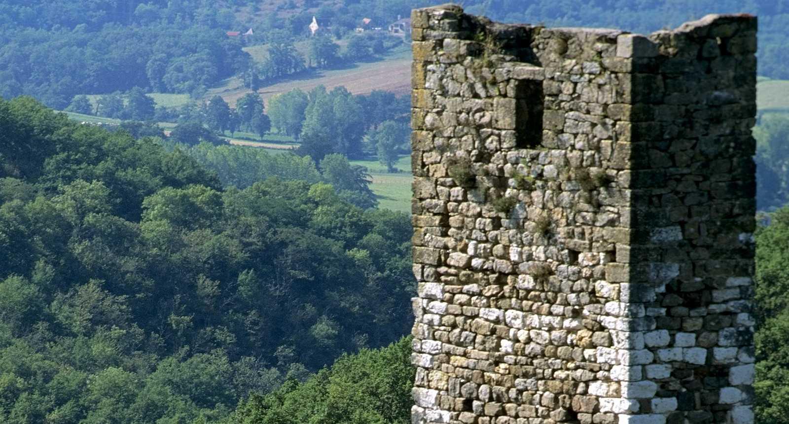 Les tours en ruines du Château de Peyrusse-le-Roc