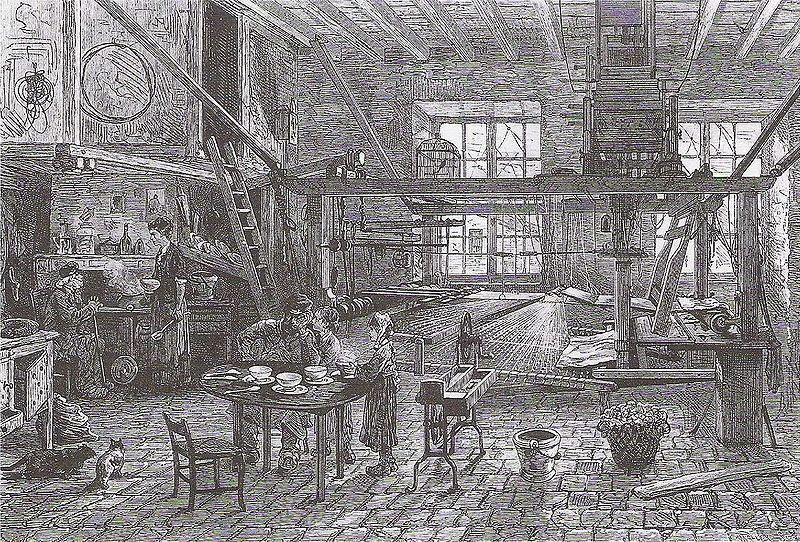 Intérieur d'un canut, au moment de la crise de 1877