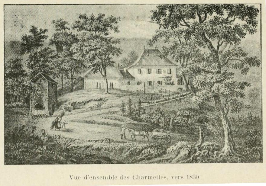 Vue d'ensemble des Charmettes, vers 1830