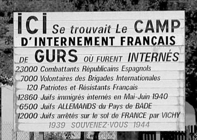 Camp de Gurs panneau mémoriel 1980