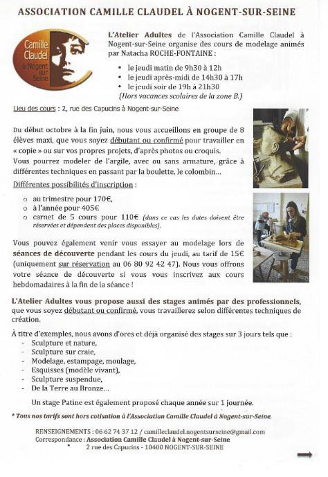 STAGES DE SCULPTURE AVEC L'ASSOCIATION CAMILLE CLAUDEL