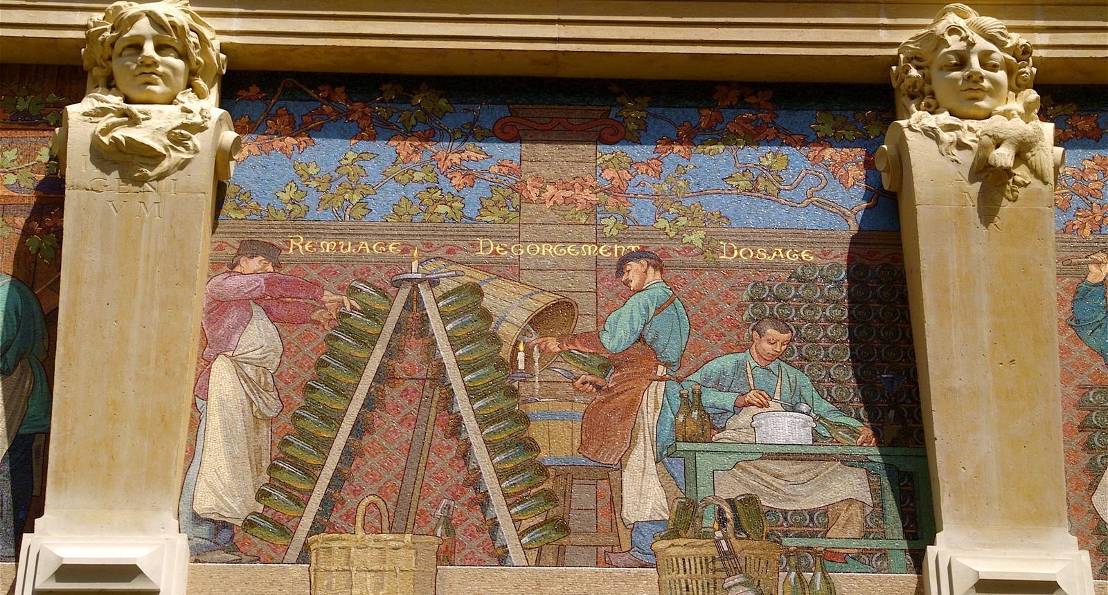 Reims, mosaïques de l'ancienne maison de Champagne Jules Mumm