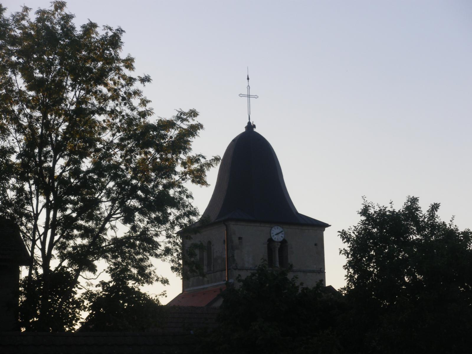 une cigogne sur l'église de desingy
